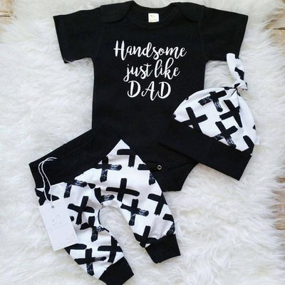 Handsome Like Dad Print  Top & Pant with Hat Set