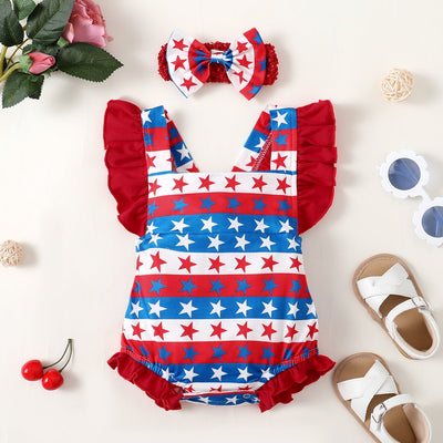 2PCS Cute American Star Striped Printed Baby Romper