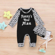 "2PCS""Mommy's New Man"" Moustache Printed Baby Jumpsuit"