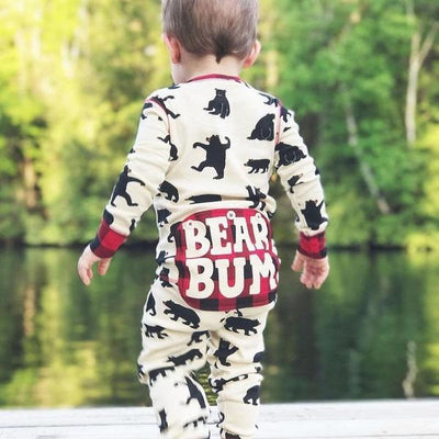 """BEAR BUM"" Full Bear Printed Baby Jumpsuit"