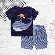 Whale Print Tee and Striped Shorts