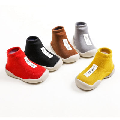 Baby Boy Girl Letter Rubber Soles Indoor Sock Shoes