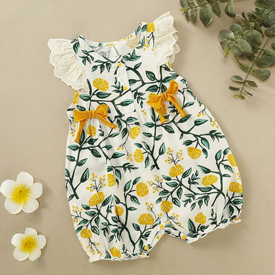Baby Floral Bowknot Decor Romper