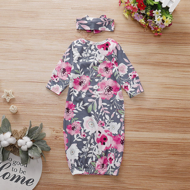 Baby NewBorn Lovely Floral Print Pajamas and Headband