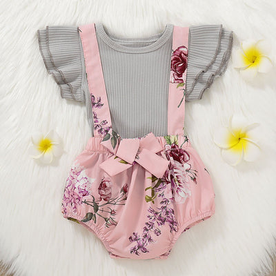 2PCS Bowknot Decor Pretty Floral Printed Baby Set