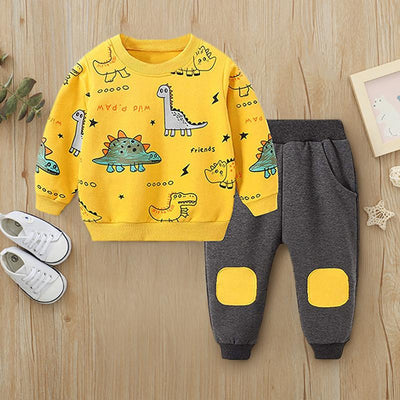 2PCS Lovely Dinosaur Printed Baby Set