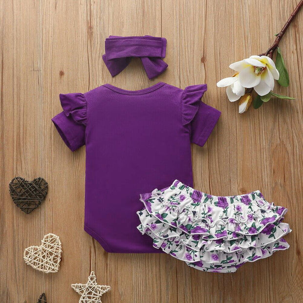 3PCS Cute Solid Floral Printed Baby Set