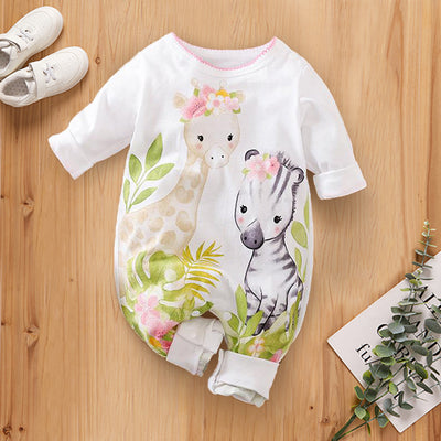 Sweet Giraffe And Zebra Printed Baby Jumpsuit