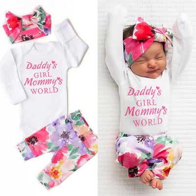 "3PCS Baby Girl  ""Daddy's Girl Mommy's World'"" Letter Printed Romper with Full Floral Printed Pants Baby Set"
