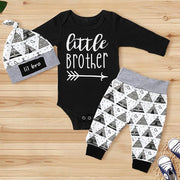 "3PCS ""Little Brother"" Cartoon Pattern Printed Baby Set"