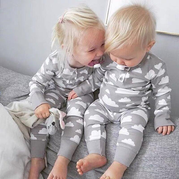 Sweet Full Clouds Printed Baby Jumpsuit