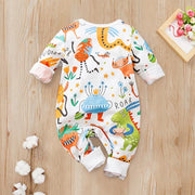 Cute Monsters And Dinosaurs Printed Baby Jumpsuit