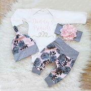 "4PCS ""DADDY'S PRINCESS"" Letter Printed Baby Set"