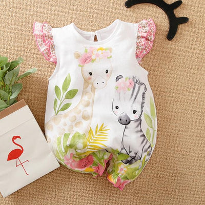 Cartoon Giraffe With Zebra Printed Baby Romper