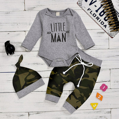 Little Man Bodysuit with Camouflage Pants Set