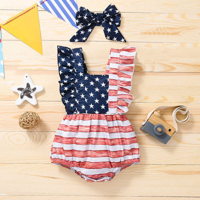 2PCS Cute Star Stripe Printed Baby Romper