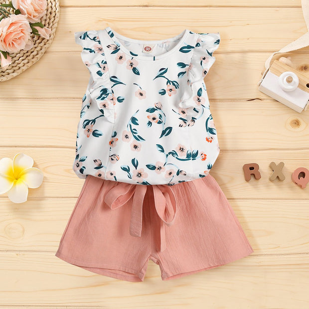 2PCS Floral Printed Toddler Set