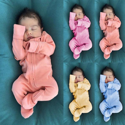 Lovely Solid Color Long Sleeve Baby Jumpsuit