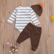 "3PCS ""Mommy's Little Turkey'"" Letter Printed with Pants Baby Set"
