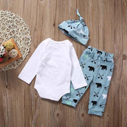 "3PCS ""Little Man"" Bear Printed Long Sleeve Baby Boy Set"