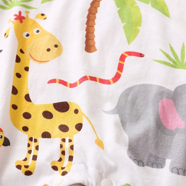 Sweet Cartoon Animal Printed Baby Jumpsuit