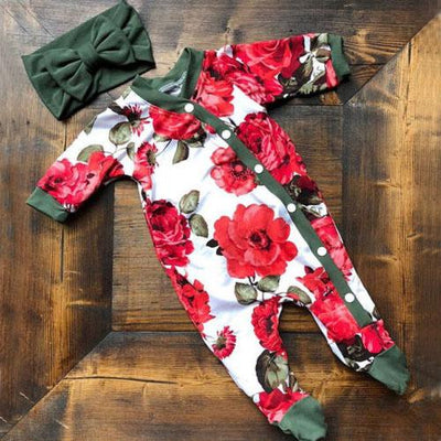 2PCS Lovely Full Floral Printed Long-sleeve Baby Jumpsuit