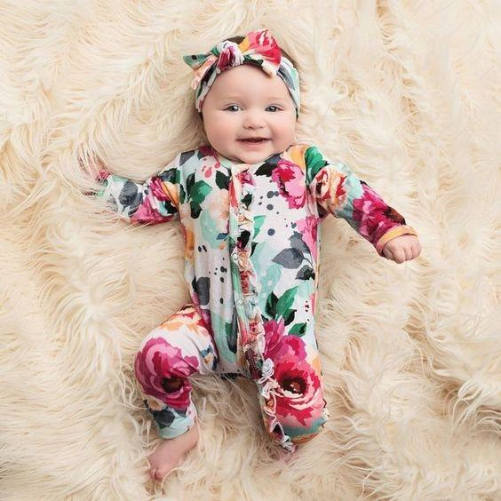 Infant Baby Girl Full Watercolour Floral Printed Long Sleeve Jumpsuit With Headband Autumn And Winter Clothing