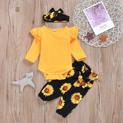 3PCS Sunflower Flutter-sleeve Bodysuit+ Pants +Headband Set