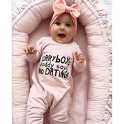 """SORRY boy's daddy says NO DATING"" Lovely Letters Printed Long-sleeve Baby Jumpsuit"