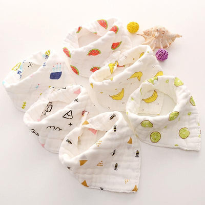 6-pack Adorable Cotton Baby Bibs