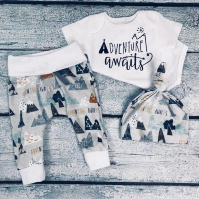 "3PCS Baby Boy ""ADVENTURE AWAITS"" Letter Printed Romper With Pants Baby Set"
