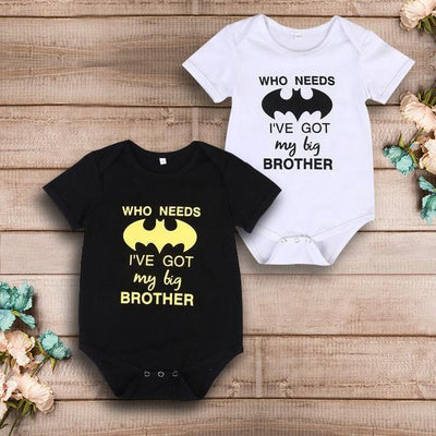 """I've got my big brother"" Letter Printed Baby Romper"
