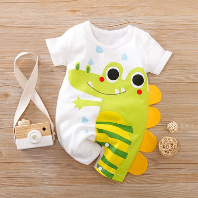 Lovely Cartoon Crocodile Printed Baby Romper