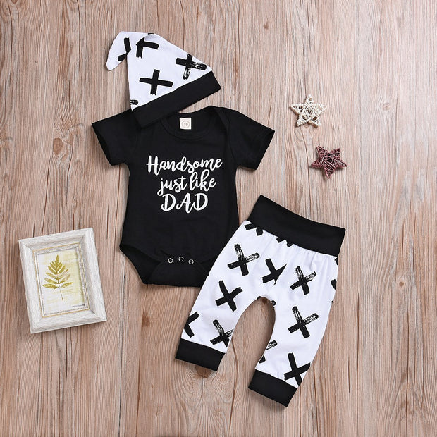 """Handsome Like Dad"" Bodysuit and Pants with Hat Set"