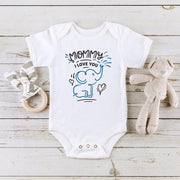 Mommy I Love You Elephant Printed Baby Romper