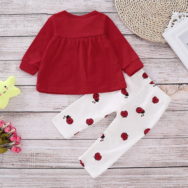 Cute Allover Ladybug Printed Top with Pants Set