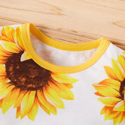 2PCS Cute Sunflower Allover Baby Jumpsuit