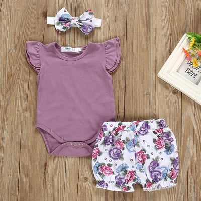 3-piece  Ruffled Bodysuit, Floral Shorts and Headband Set