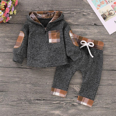 Casual Plaid Hoodie and Pant Set