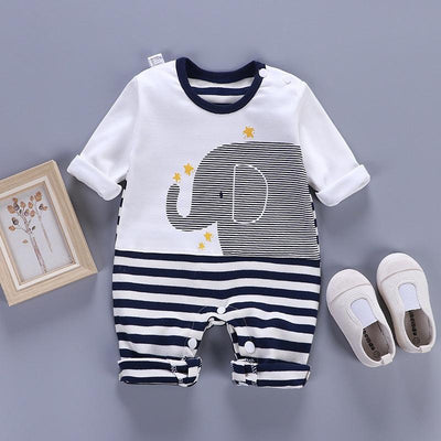 Baby Striped Elephant Print Jumpsuit