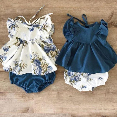 2-piece Flutter-sleeve Top and Shorts for Baby Girl