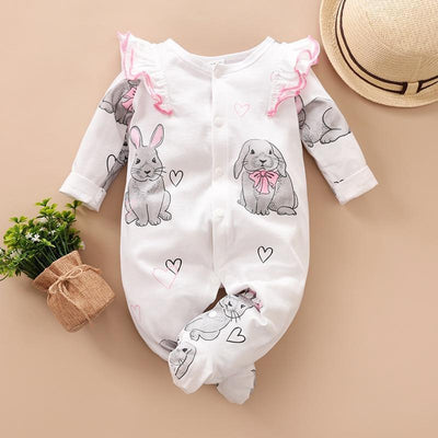 Baby Girl Rabbit Print Long-sleeve Jumpsuit