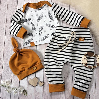 Baby Boy  Girl Striped Pants Clothes Outfits Set