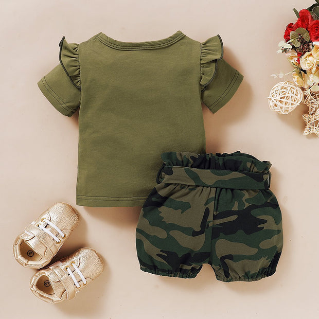 """Daddys Girl"" Ruffle Shoulder Top With Camouflage Shorts Baby Set"