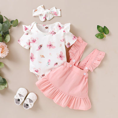 3PCS Floral Bodysuit with Solid Skirt Baby Set