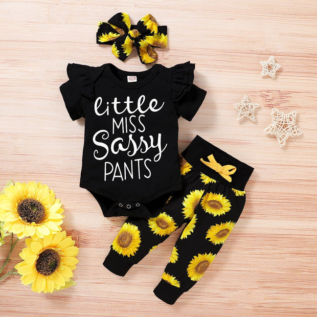 3PCS Sunflower Short Sleeve Letter Printed Bodysuit with Floral Printed Set