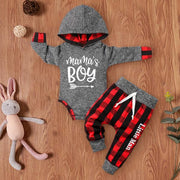"2PCS ""Mama's Boy"" Letter Printed Hoodie with Plaid Pants Baby Set"