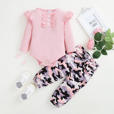 2PCS Solid Color Camouflage Printed Baby Set