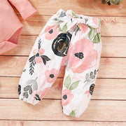 3PCS Solid Romper with Floral Printed Pants Baby Set