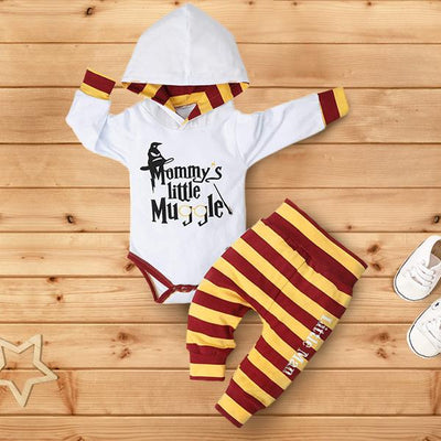 "2PCS ""Mommy's Little Muggle""Striped Printed Baby Set"